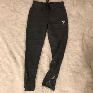 PINK Joggers with pockets & Zip Bottoms, Gray X-Sm